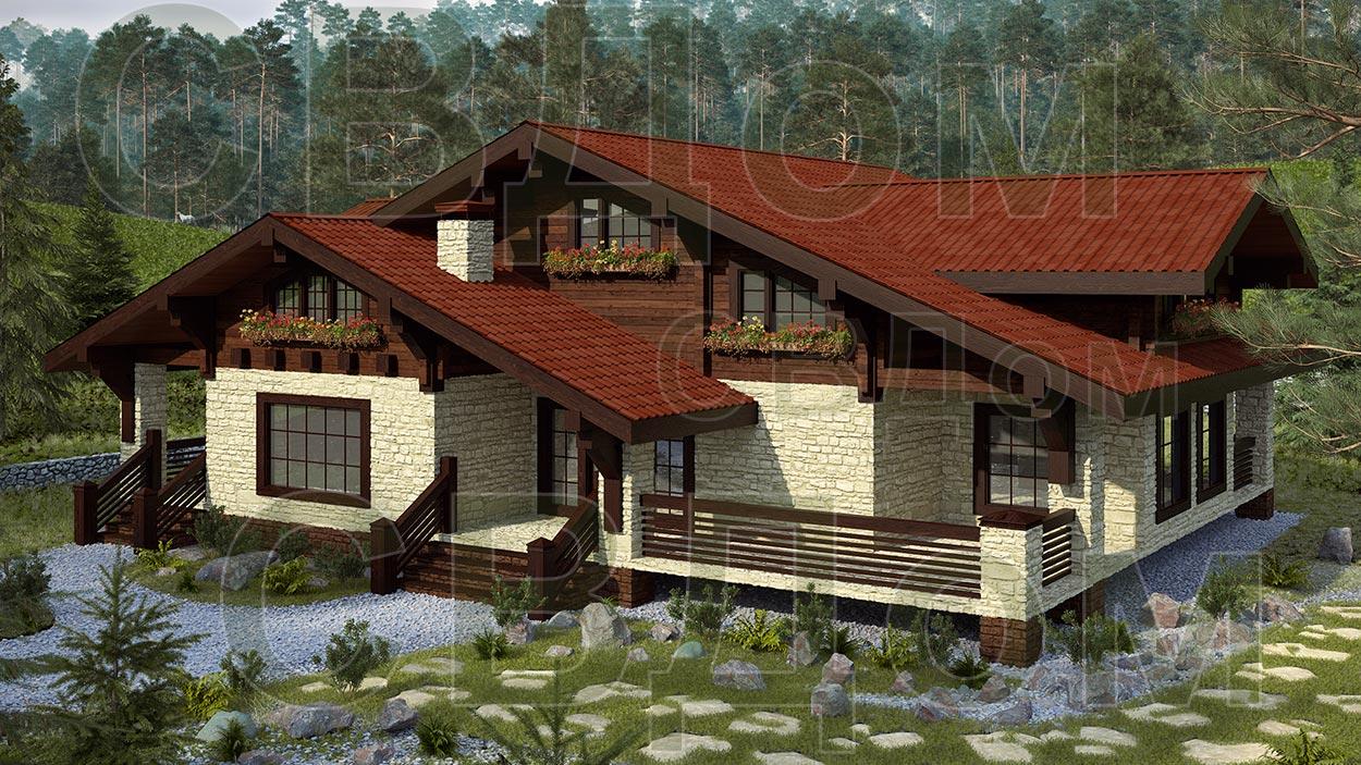 фото домов в стиле шале из клееного бруса